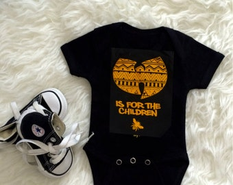 wu tang is for the children baby bodysuit / wutang baby / aztec pattern / white / yellow /bee / creeper / baby / infant / hip hop/babyshower