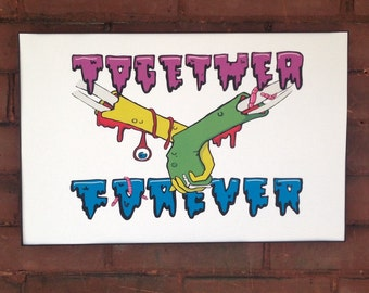 Together Forever - zombie art print 17 x 11