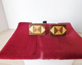 INLAID WOOD CUFFLINKS