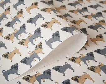 Pug Gift paper 3 bow boobs Dog pattern