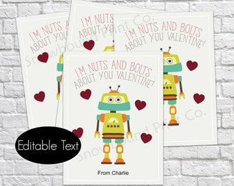 Printable Robot Valentine's Day Cards, I'm nuts and bolts about you, printable valentine, editable pdf, instant download, diy valentine