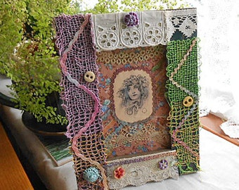 GYPSY FAIRY Framed Collage, Elfin Waif Silk Image, Bluebells, Antique Lace Tatting Buttons Sparkly Trim, Scrappy Altered Fabric Art 9 x 7