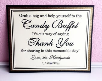 SALE Grab a Bag and Help Yourself 8x10 Flat Wedding Candy Buffet Printed Sign in Black and Cream and Glittery Gold - Ready to Ship