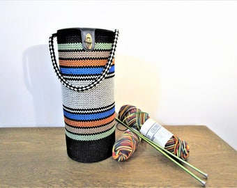 Retro Vintage Knitting Tote - Carrier/Organizer - Yarn Dispenser Tote - Knitting Caddie - Knitting Needle Tote