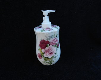 Soap Dispenser: Hand Decorated Porcelain