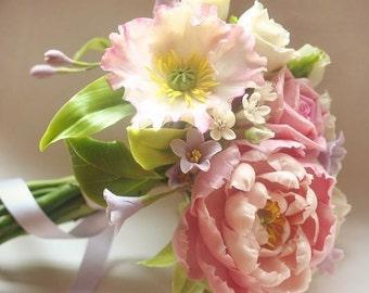 peony bouquet, bride bouquet, cold porcelain, rose bride bouquet, rustic bouquet, bride peony, flower accessory, bridesmaid bouquet, bridal