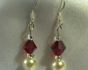 Valentines Earrings Swarovski Pearls Red SwarovskiCrystals