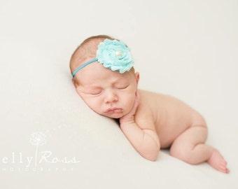Aqua Shabby Chic Headbands, Aqua Headbands, Baby Headbands, Newborn Headbands, Photography Props