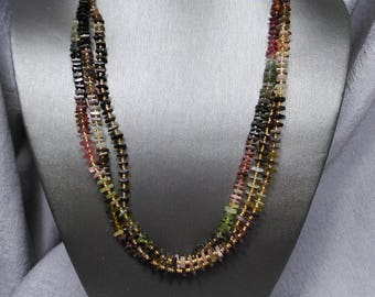 Watermelon Tourmaline with 14K Gold Chain and clasp