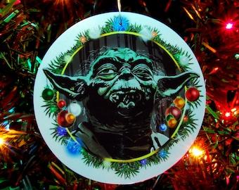 STAR WARS, Yoda, Christmas Ornament, Christmas Decoration, 4inch round, fine art print, laminated