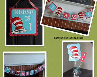 Dr Seuss Decorations, Dr Seuss Birthday, Dr Seuss Party, 1st Birthday, Centerpieces, Door Sign, Happy Birthday Banner, I am 1 banner