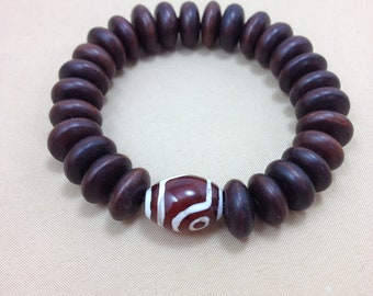 Date Wood Mala Bracelet with Etched Agate - Wood Yoga and Meditation Bracelet