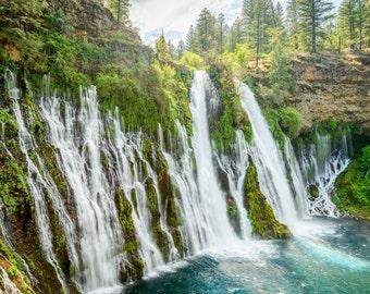 California Waterfall Landscape Photography Print - Burney Falls Spring - Mounted / Hanging Options - 11x14 16x20 20x30 24x36 30x45