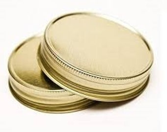 12 pcs Gold Mason Jar Lid for Regular Mouth Mason Jars- BPA Free, Plastisol Lined