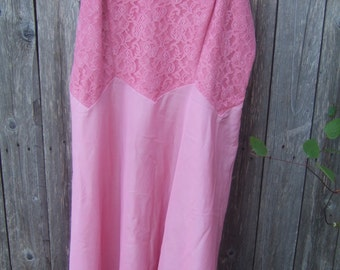 Re-purposed Full Slip, Pink, Lace Top