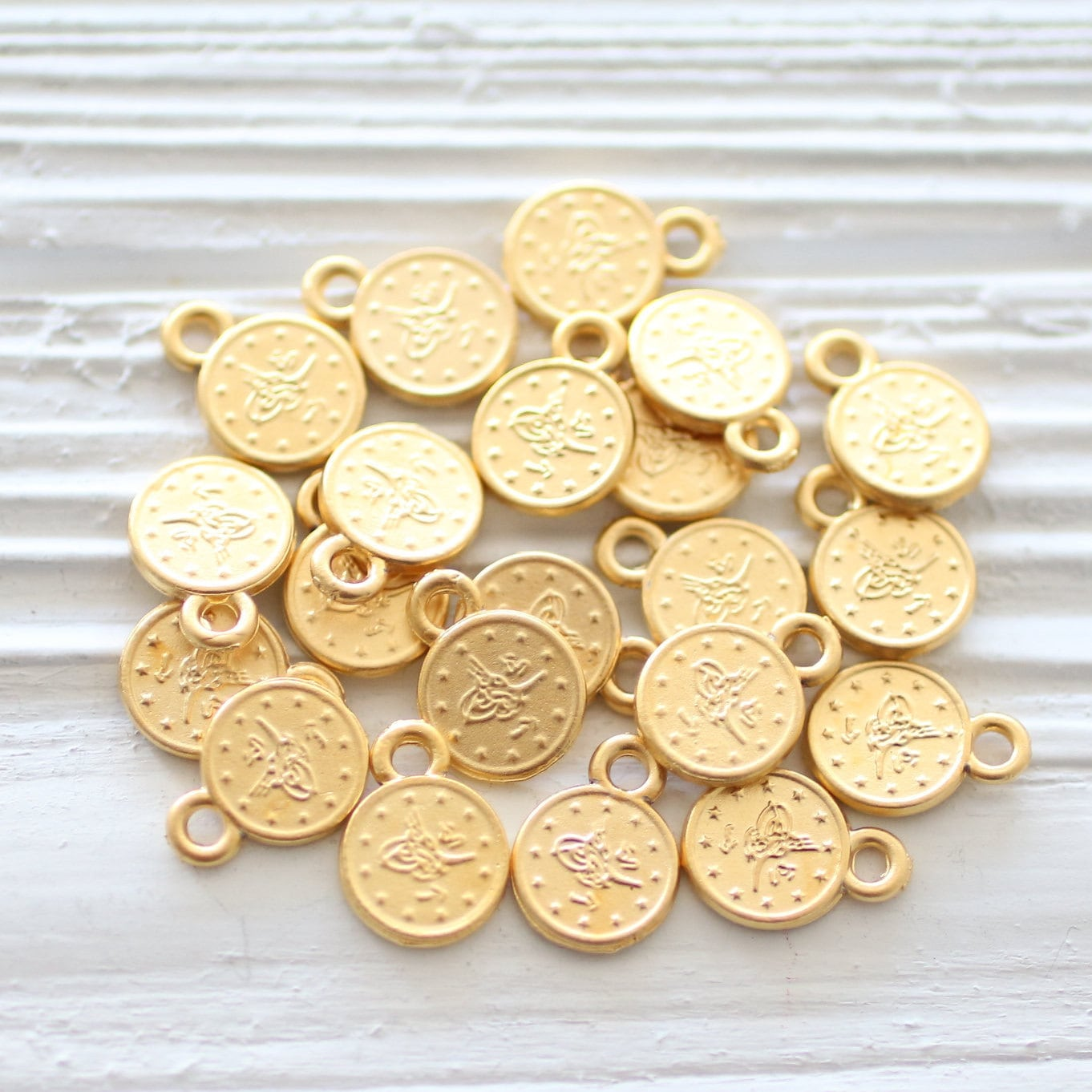 Well-liked 10pc matte gold coins, disc beads, metal coins, mini coin, tribal  LE92