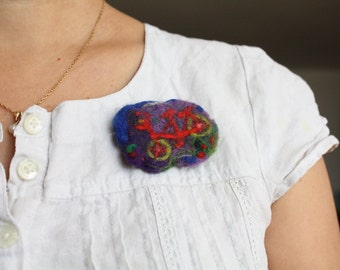 Bicycle pin, needlefelted organic brooch, Dutch bike, Waldorf decoration, red bike, red and lavender, green and blue, brooch for girl