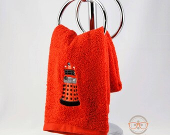 Doctor Who Hand Towel - Dalek - Embroidered Sci-Fi Bathroom Towel or Kitchen Decor