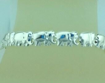 Sterling Silver Elephants Linked Together, Sterling Silver Elephant Bracelet, Silver Elephant Bracelet, Pulcera Elefantes