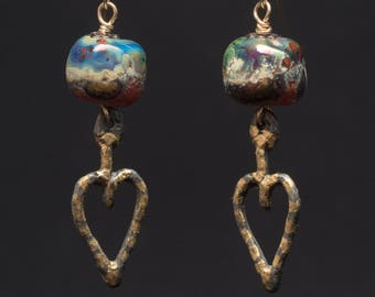 Beneath the Universe, art glass beads with gilded pewter dangles on 14K GF wires