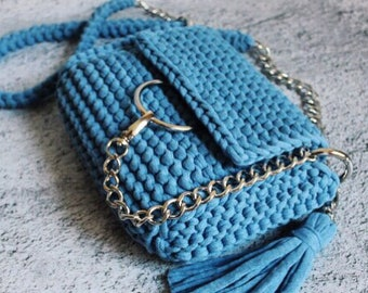 Bag Crochet Bag Bag of knitted yarn  Handmade bag Stylish bag Knitted bag Lady is bag Crossbody bag Blue bag Chloe Bag whis ring Clutch