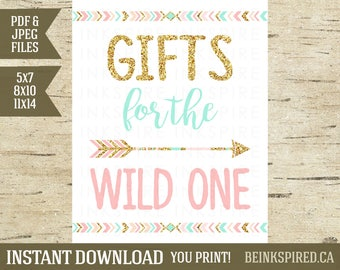 Gifts for the Wild One, Wild One Birthday, Tribal Birthday, Tribal Party Sign, Tribal Gifts Sign, 5x7, 8x10, 11x14, OLIVIA, INSTANT DOWNLOAD