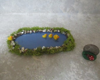 """Miniature Doll/Dollhouse Mama duck and 3 baby Duck Pond 4 3/4""""w"""