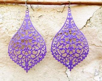 Big earrings, boho earrings, purple earrings. filigree earrings / Bohemian jewelry / Beach jewelry