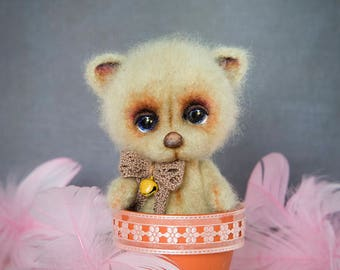Miniature teddy bear needle felted OOAK
