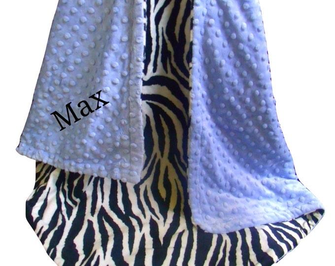 Blue Zebra Minky Baby Blanket - Black and White Zebra Print Baby Blanket, Blue Minky Dot - three sizes,
