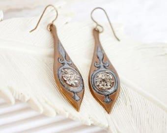 Bridal Boho Earrings, Blue Druzy Earrings, Denim Blue Earrings, Light Blue Dangle Earrings, Metallic Blue Earrings, Teardrop Druzy Earrings