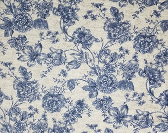 Navy Flowers on Gray Heather Luxe Flannel by the yard