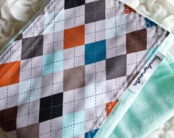 Baby burp cloth - Gray argyle on aqua hand dyed burp cloth