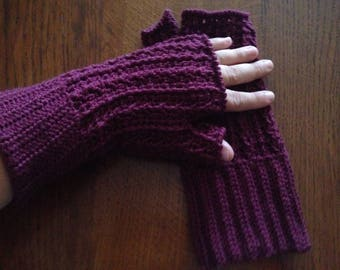 Fingerless gloves made crochet with a pattern like 100% Merino Wool