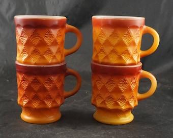 4 Vintage Fire King ORANGE KIMBERLEY Coffee Mugs