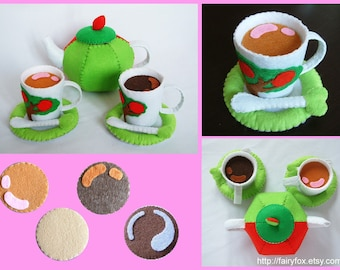 DIY felt apple tea set---PDF Pattern via Email--T21