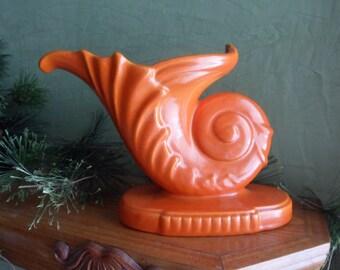 Stangl Orange Terra Rose Cornucopia Vase