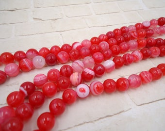 Pink Agate Beads - 8mm Pink Agate - Pink Agate Round - 8m Agate Bead - Pink Agate Strand - Hot Pink Agate - Pink Stone Bead - Pink Stone