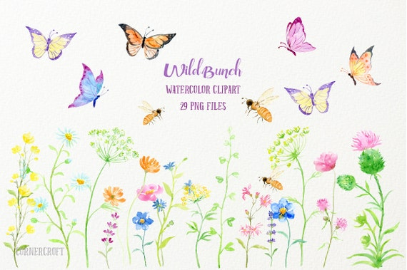 watercolor clipart wild bunch wild flowers butterflies and