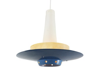 Blue pendant light by Louis Kalff for Philips, 1950s