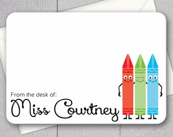 Teacher Note Cards - 12pk, Personalized Flat Note Cards, Language Arts Teacher Gifts, Printed with Envelopes (NC-001)