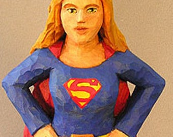 Roughout Wooden Blank of Superhero girl - Ready for carving