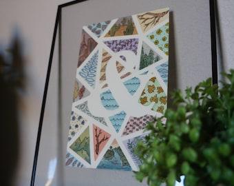 MEDIUM Geometric Watercolor Original (w/Customizable Initial or Symbol)