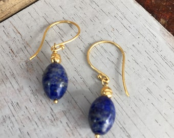 Lapis earrings with gold French hoops and gold vermeil Bali beads