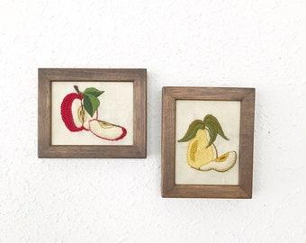 Vintage Crewel Fruit / Needlework Apple & Pear  / Kitchen Decor