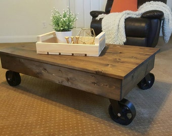 Factory Cart Industrial Coffee Table, Factory Cart Coffee Table, Distressed Coffee Table, Rustic Coffee Table, Industrial Coffee Table