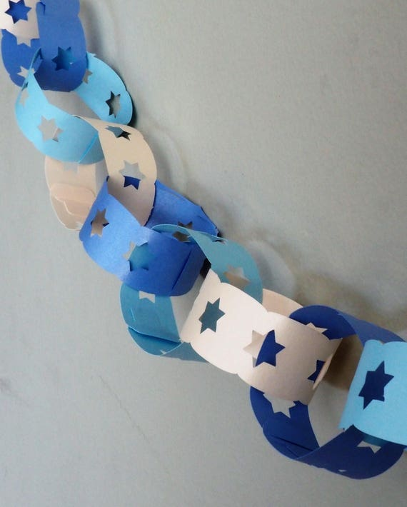 Jewish Star Paper Chain Garland | Star Of David Jewish Holiday Sukkot Decoration | Sukkot Hanukkah And All Jewish Events by Etsy