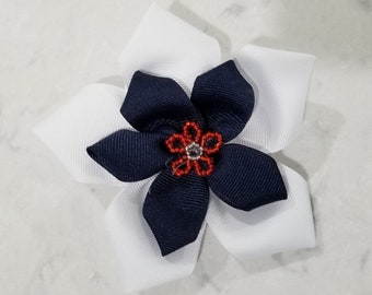 Classic White, Blue and Red embellished flower Hairpin