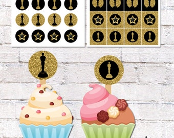 Cupcake Toppers and Cake Bunting for Hollywood Party. Film Theme Party Decor. Printable / DIY.  *DIGITAL DOWNLOAD*