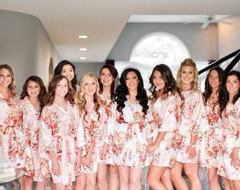 Sale! Silk Bridesmaid Robes - Bridesmaid Gift - Floral Robes - Getting Ready Robes - Bridal Party - Kimono Robe - Wedding Robes - Bride Robe
